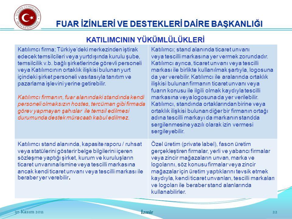 22 Katılımcı firma; Türkiye'deki merkezinden iştirak edecek temsilcileri veya yurtdışında kurulu şube, temsilcilik v.b. bağlı şirketlerinde görevli pe