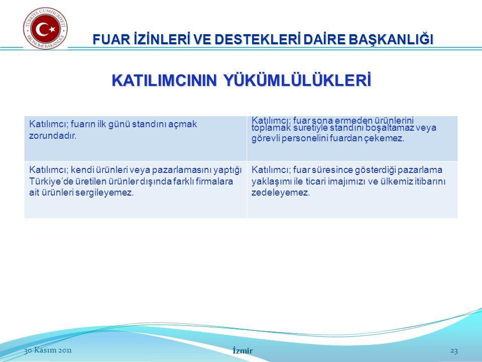 23 FUAR İZİNLERİ VE DESTEKLERİ DAİRE BAŞKANLIĞI 30 Kasım 2011 İzmir Katılımcı; fuarın ilk günü standını açmak zorundadır. Katılımcı; fuar sona ermeden
