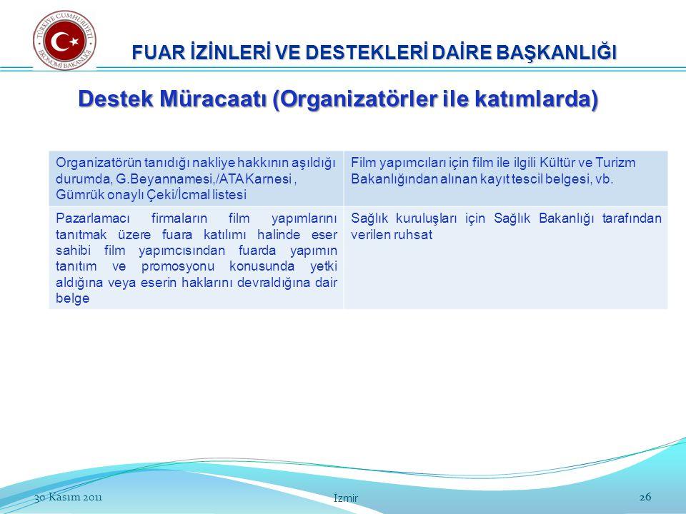 2630 Kasım 2011 İzmir 26 Organizatörün tanıdığı nakliye hakkının aşıldığı durumda, G.Beyannamesi,/ATA Karnesi, Gümrük onaylı Çeki/İcmal listesi Film y