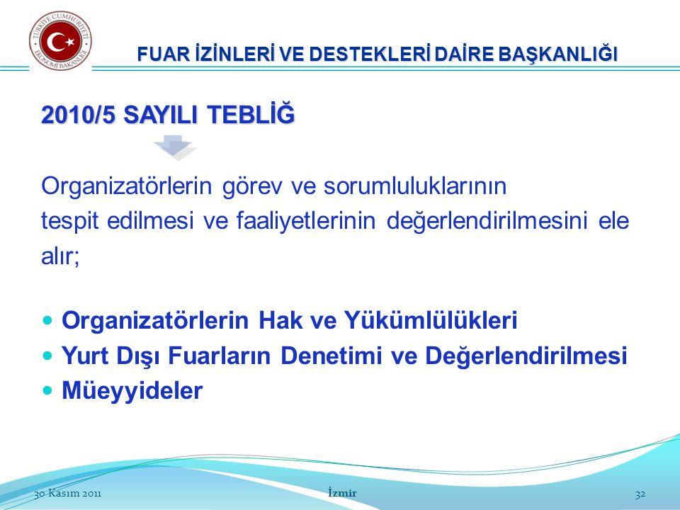 32 2010/5 SAYILI TEBLİĞ Organizatörlerin görev ve sorumluluklarının tespit edilmesi ve faaliyetlerinin değerlendirilmesini ele alır; Organizatörlerin