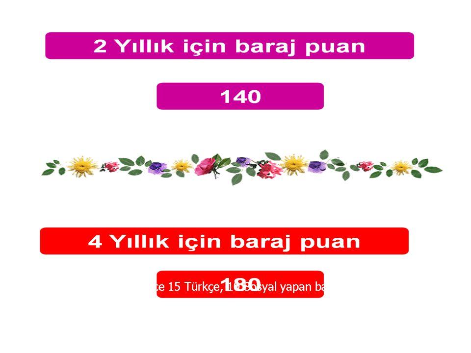 Ygs'de sadece 15 Türkçe, 10 Sosyal yapan barajı geçer. TM-3'te 8 Mat-2 + 25 TDE + 15 Coğ1 barajı geçer.