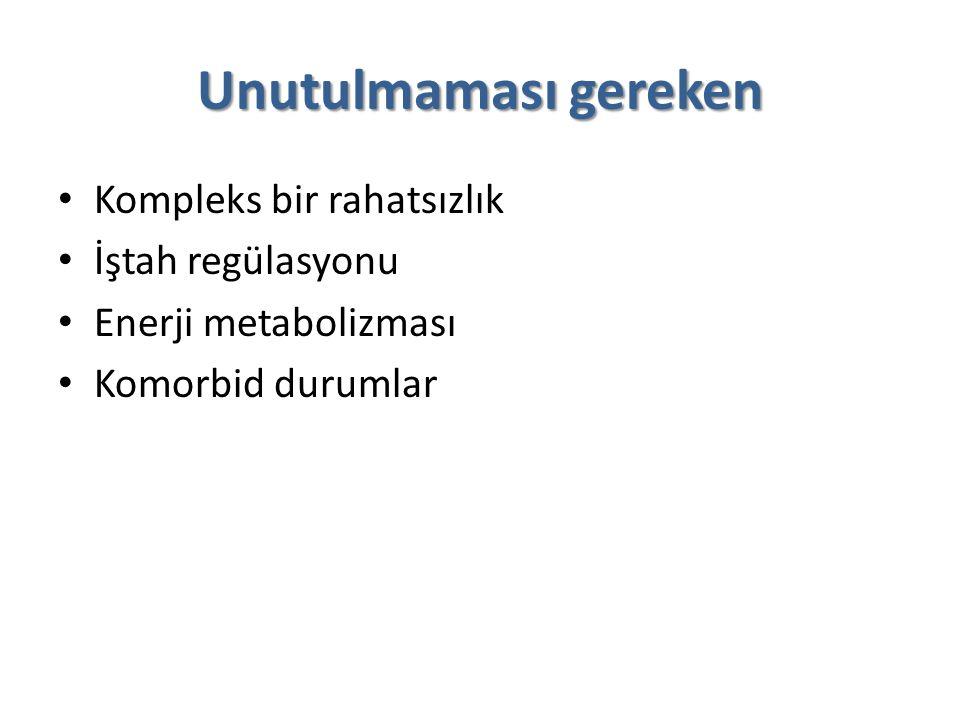Unutulmaması gereken Kompleks bir rahatsızlık İştah regülasyonu Enerji metabolizması Komorbid durumlar