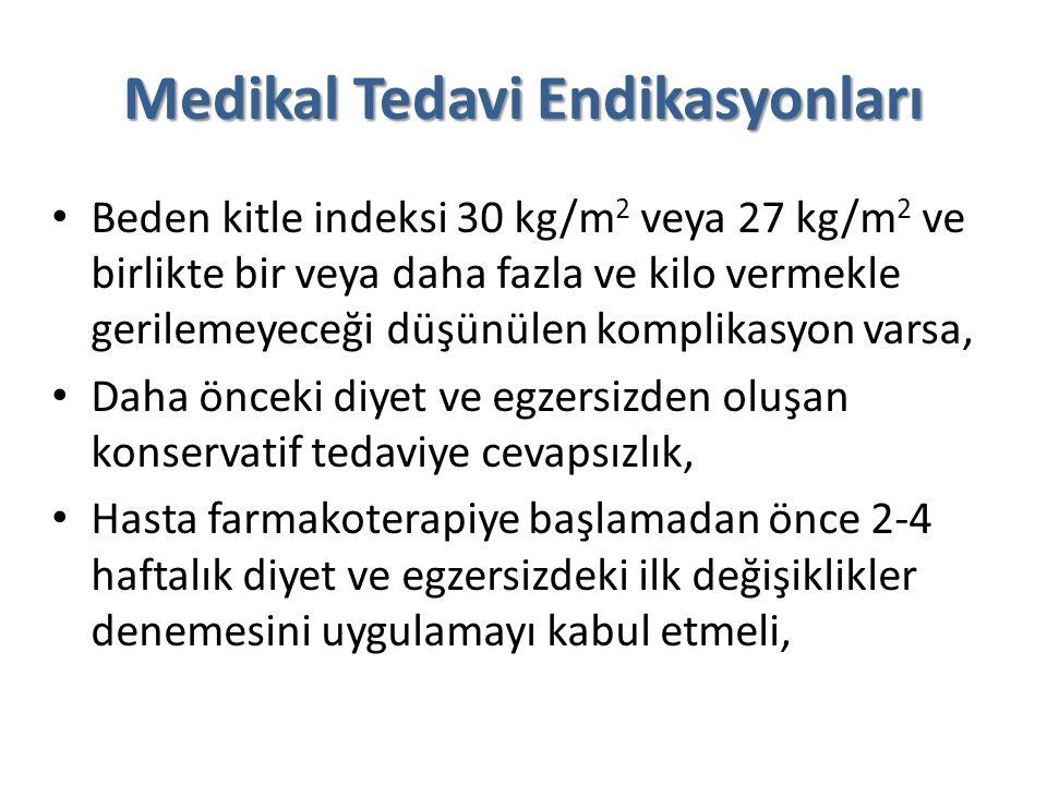 Medikal Tedavi Endikasyonları Beden kitle indeksi 30 kg/m 2 veya 27 kg/m 2 ve birlikte bir veya daha fazla ve kilo vermekle gerilemeyeceği düşünülen k