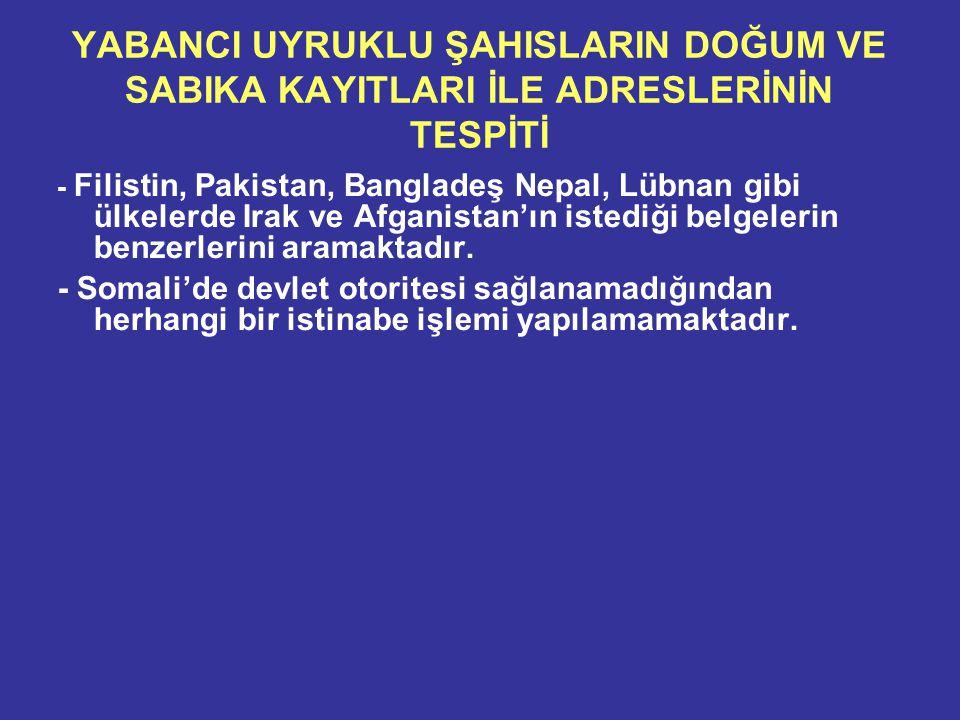 YABANCI UYRUKLU ŞAHISLARIN DOĞUM VE SABIKA KAYITLARI İLE ADRESLERİNİN TESPİTİ - Filistin, Pakistan, Bangladeş Nepal, Lübnan gibi ülkelerde Irak ve Afganistan'ın istediği belgelerin benzerlerini aramaktadır.