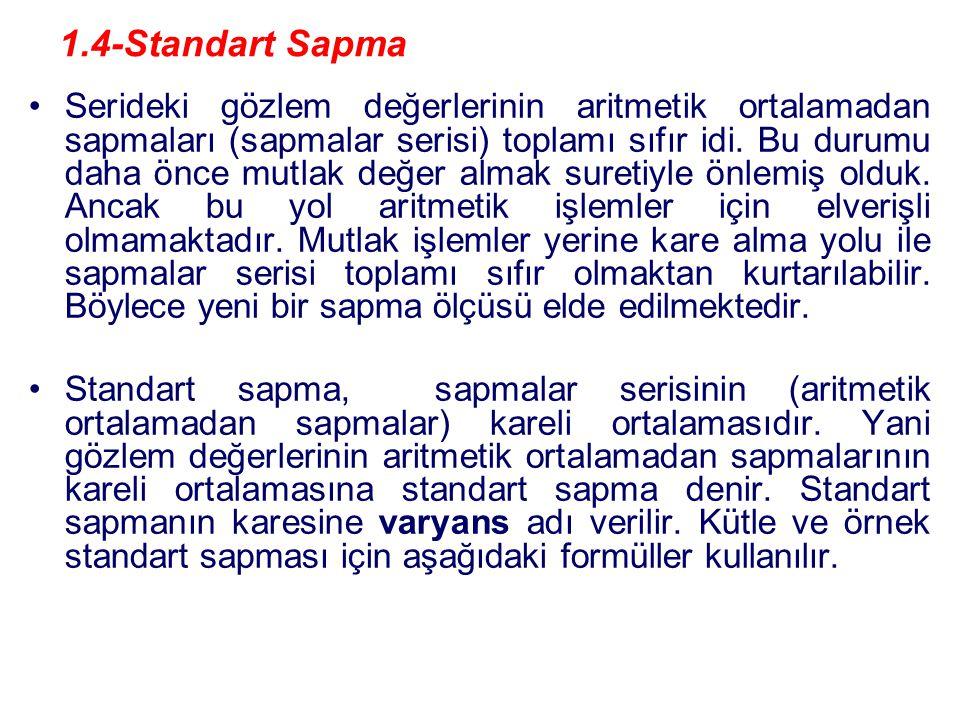 1.4-Standart Sapma Serideki gözlem değerlerinin aritmetik ortalamadan sapmaları (sapmalar serisi) toplamı sıfır idi. Bu durumu daha önce mutlak değer