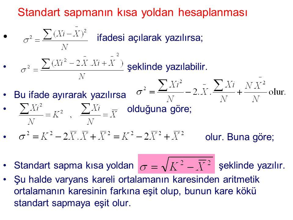 Standart sapmanın kısa yoldan hesaplanması ifadesi açılarak yazılırsa; şeklinde yazılabilir. Bu ifade ayırarak yazılırsa olduğuna göre; olur. Buna gör