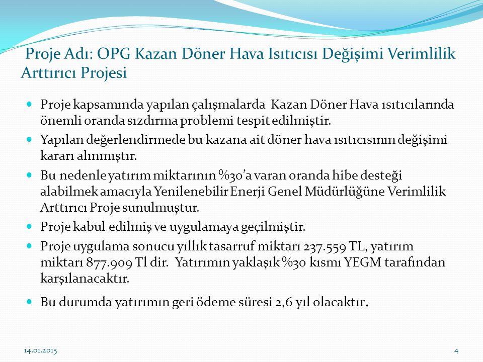 Proje Adı: OPG Kazan Döner Hava Isıtıcısı Değişimi Verimlilik Arttırıcı Projesi Proje kapsamında yapılan çalışmalarda Kazan Döner Hava ısıtıcılarında