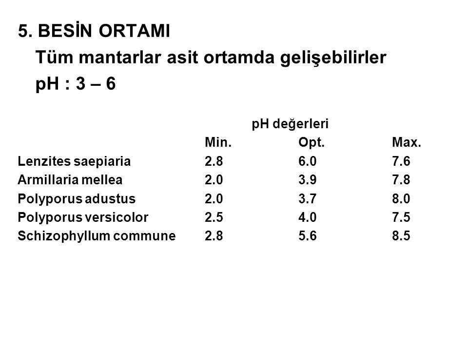 5. BESİN ORTAMI Tüm mantarlar asit ortamda gelişebilirler pH : 3 – 6 pH değerleri Min.Opt.Max. Lenzites saepiaria2.86.07.6 Armillaria mellea2.03.97.8