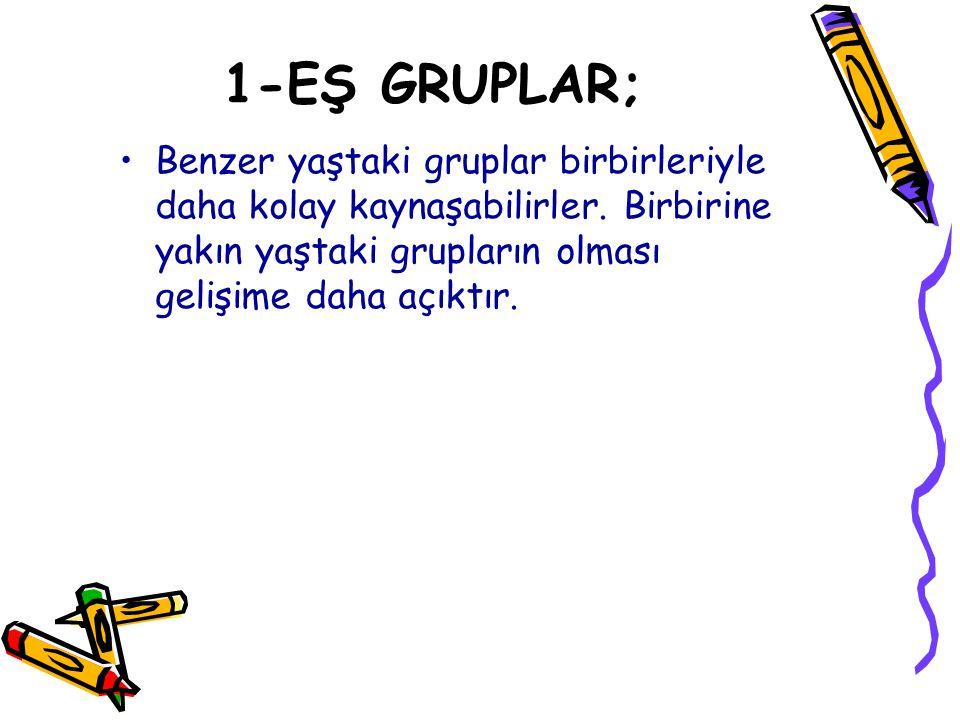 1-EŞ GRUPLAR; Benzer yaştaki gruplar birbirleriyle daha kolay kaynaşabilirler.