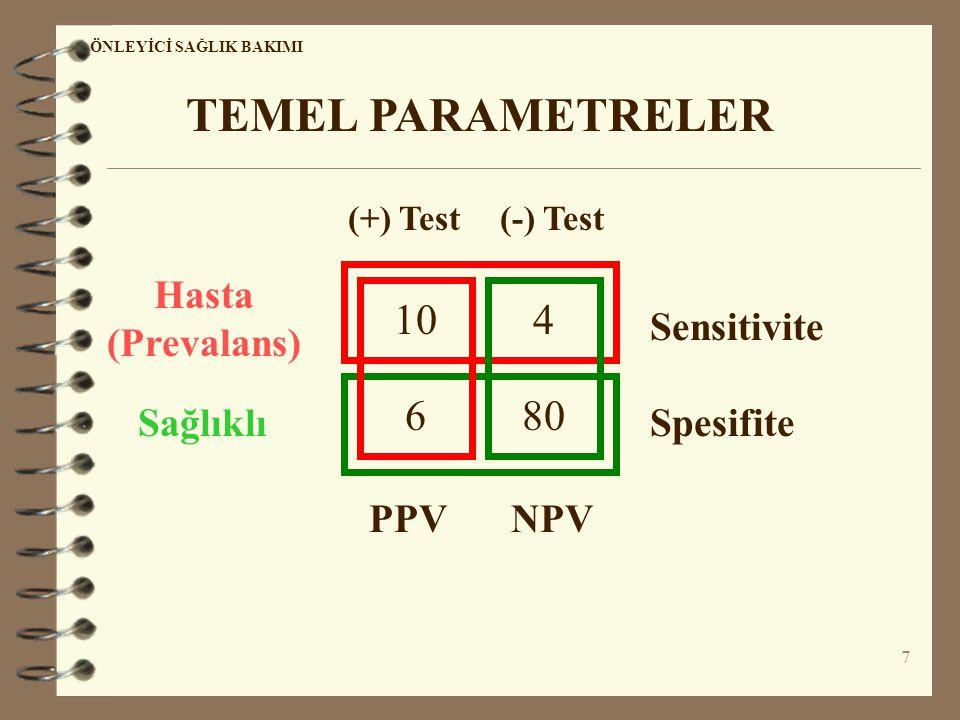 7 ÖNLEYİCİ SAĞLIK BAKIMI TEMEL PARAMETRELER 10 680 4 Hasta (Prevalans) SağlıklıSpesifite Sensitivite PPVNPV (+) Test(-) Test
