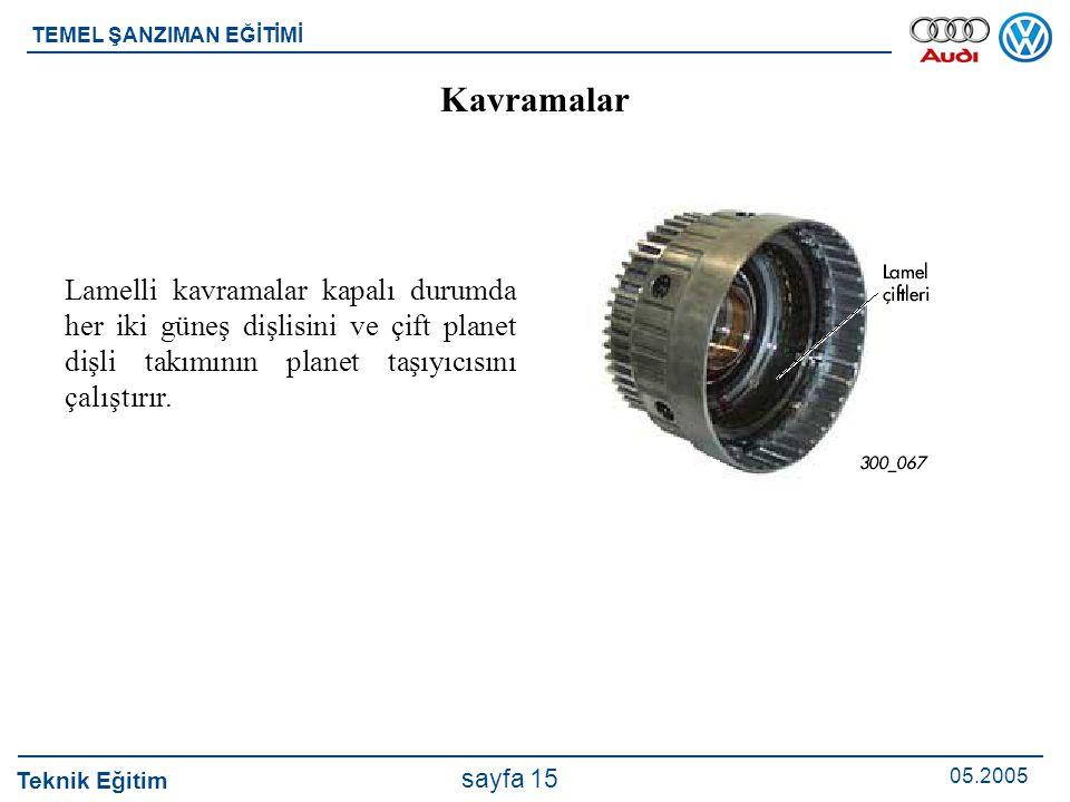 Teknik Eğitim 05.2005 sayfa 15 TEMEL ŞANZIMAN EĞİTİMİ Lamelli kavramalar kapalı durumda her iki güneş dişlisini ve çift planet dişli takımının planet