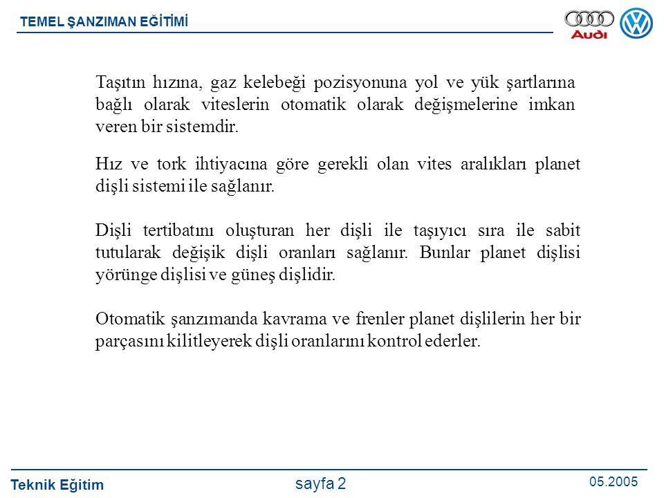 Teknik Eğitim 05.2005 sayfa 2 TEMEL ŞANZIMAN EĞİTİMİ Hız ve tork ihtiyacına göre gerekli olan vites aralıkları planet dişli sistemi ile sağlanır. Dişl