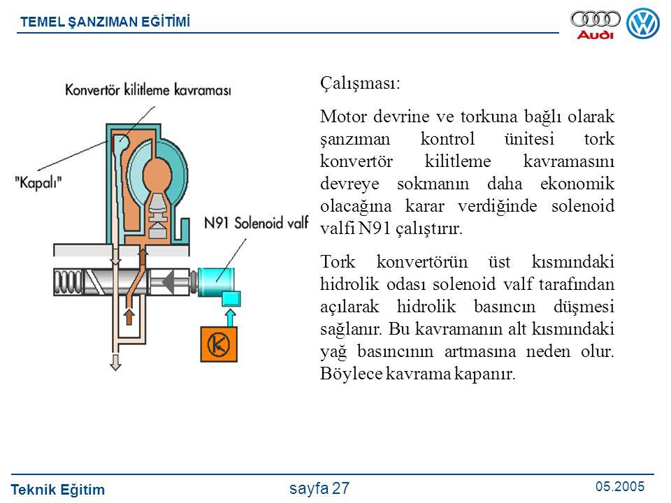 Teknik Eğitim 05.2005 sayfa 27 TEMEL ŞANZIMAN EĞİTİMİ Çalışması: Motor devrine ve torkuna bağlı olarak şanzıman kontrol ünitesi tork konvertör kilitle