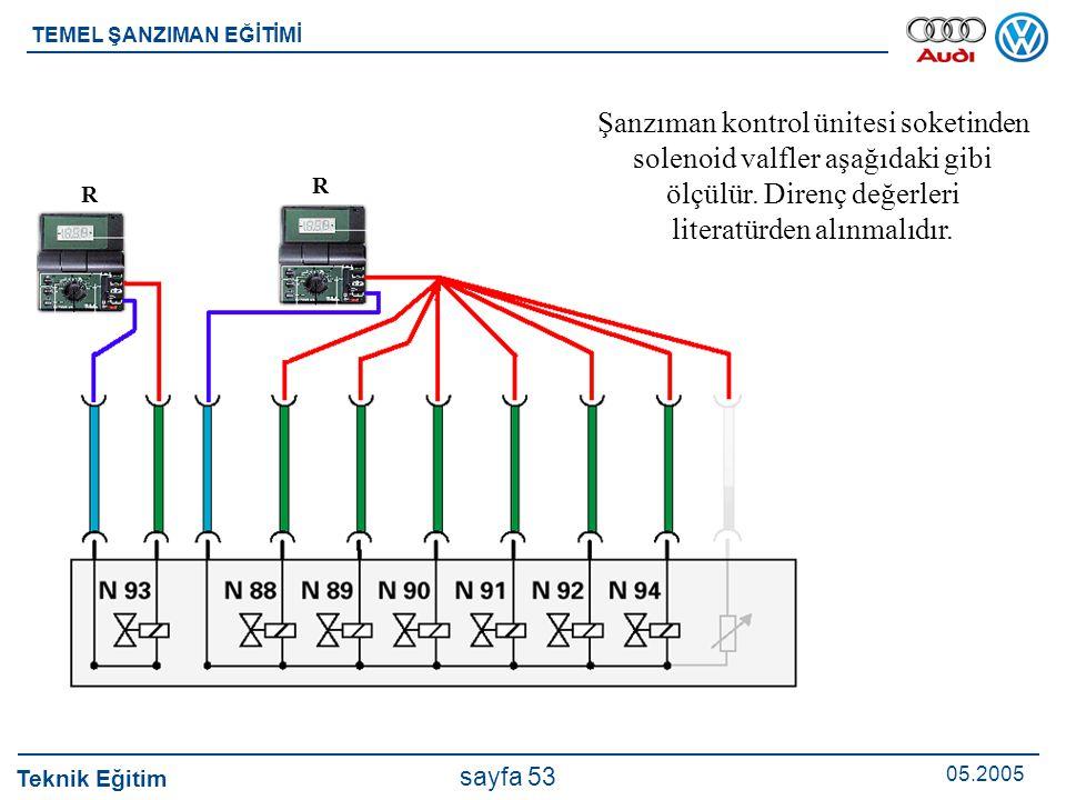 Teknik Eğitim 05.2005 sayfa 53 TEMEL ŞANZIMAN EĞİTİMİ Şanzıman kontrol ünitesi soketinden solenoid valfler aşağıdaki gibi ölçülür. Direnç değerleri li