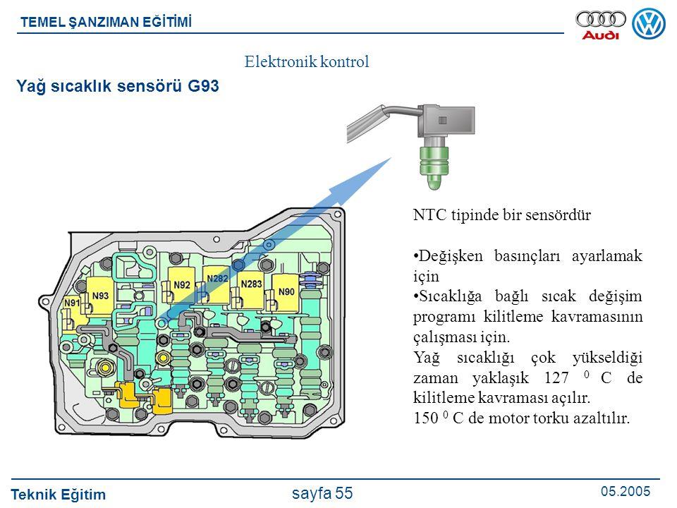 Teknik Eğitim 05.2005 sayfa 55 TEMEL ŞANZIMAN EĞİTİMİ Elektronik kontrol Yağ sıcaklık sensörü G93 NTC tipinde bir sensördür Değişken basınçları ayarla