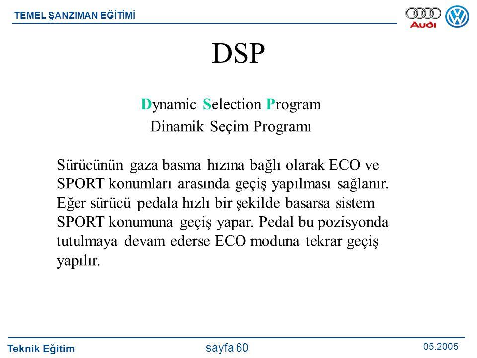 Teknik Eğitim 05.2005 sayfa 60 TEMEL ŞANZIMAN EĞİTİMİ DSP Dynamic Selection Program Dinamik Seçim Programı Sürücünün gaza basma hızına bağlı olarak EC