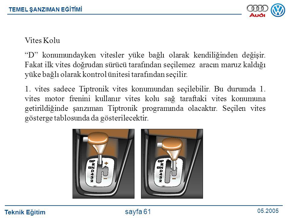 """Teknik Eğitim 05.2005 sayfa 61 TEMEL ŞANZIMAN EĞİTİMİ Vites Kolu """"D"""" konumundayken vitesler yüke bağlı olarak kendiliğinden değişir. Fakat ilk vites d"""