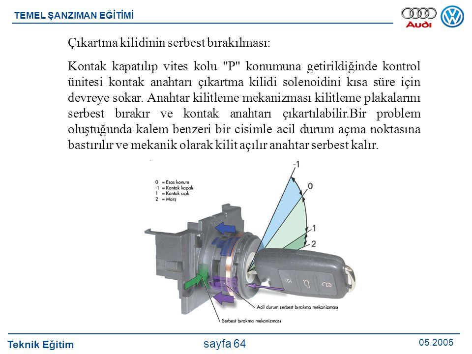 Teknik Eğitim 05.2005 sayfa 64 TEMEL ŞANZIMAN EĞİTİMİ Çıkartma kilidinin serbest bırakılması: Kontak kapatılıp vites kolu