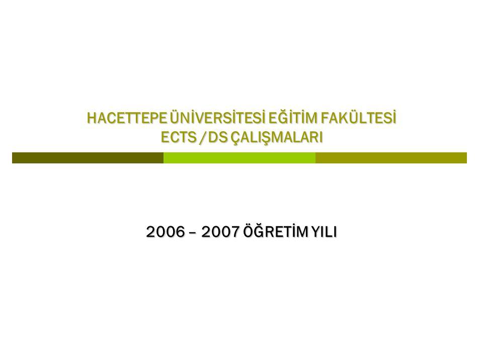 HACETTEPE ÜNİVERSİTESİ EĞİTİM FAKÜLTESİ ECTS /DS ÇALIŞMALARI 2006 – 2007 ÖĞRETİM YILI