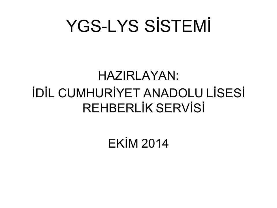 YGS-LYS SİSTEMİ HAZIRLAYAN: İDİL CUMHURİYET ANADOLU LİSESİ REHBERLİK SERVİSİ EKİM 2014
