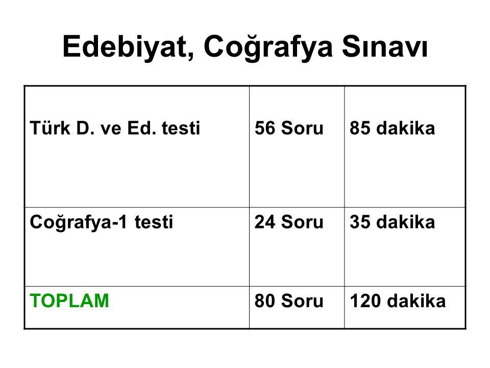 Türk D. ve Ed. testi56 Soru85 dakika Coğrafya-1 testi24 Soru35 dakika TOPLAM80 Soru120 dakika Edebiyat, Coğrafya Sınavı