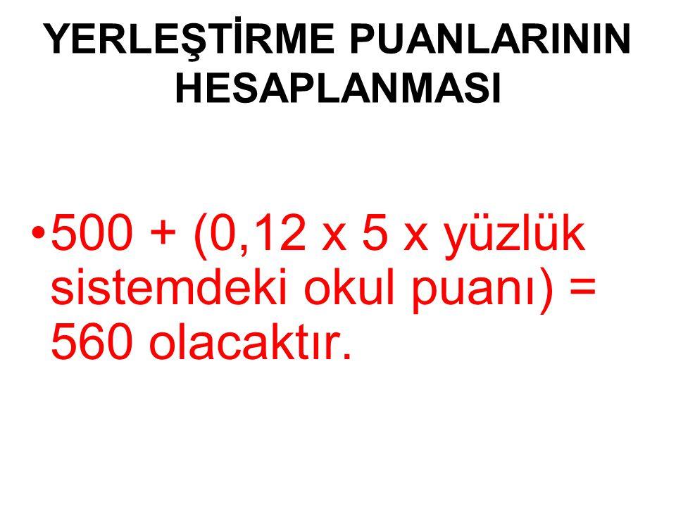YERLEŞTİRME PUANLARININ HESAPLANMASI 500 + (0,12 x 5 x yüzlük sistemdeki okul puanı) = 560 olacaktır.