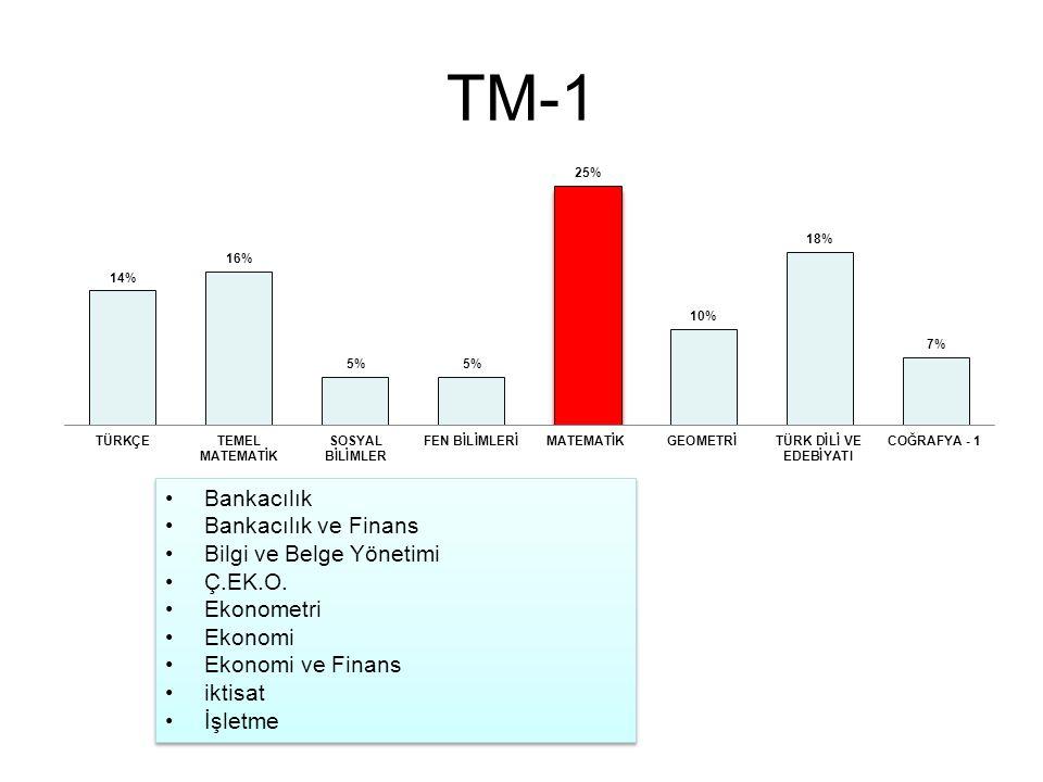 TM-1 Bankacılık Bankacılık ve Finans Bilgi ve Belge Yönetimi Ç.EK.O. Ekonometri Ekonomi Ekonomi ve Finans iktisat İşletme Bankacılık Bankacılık ve Fin