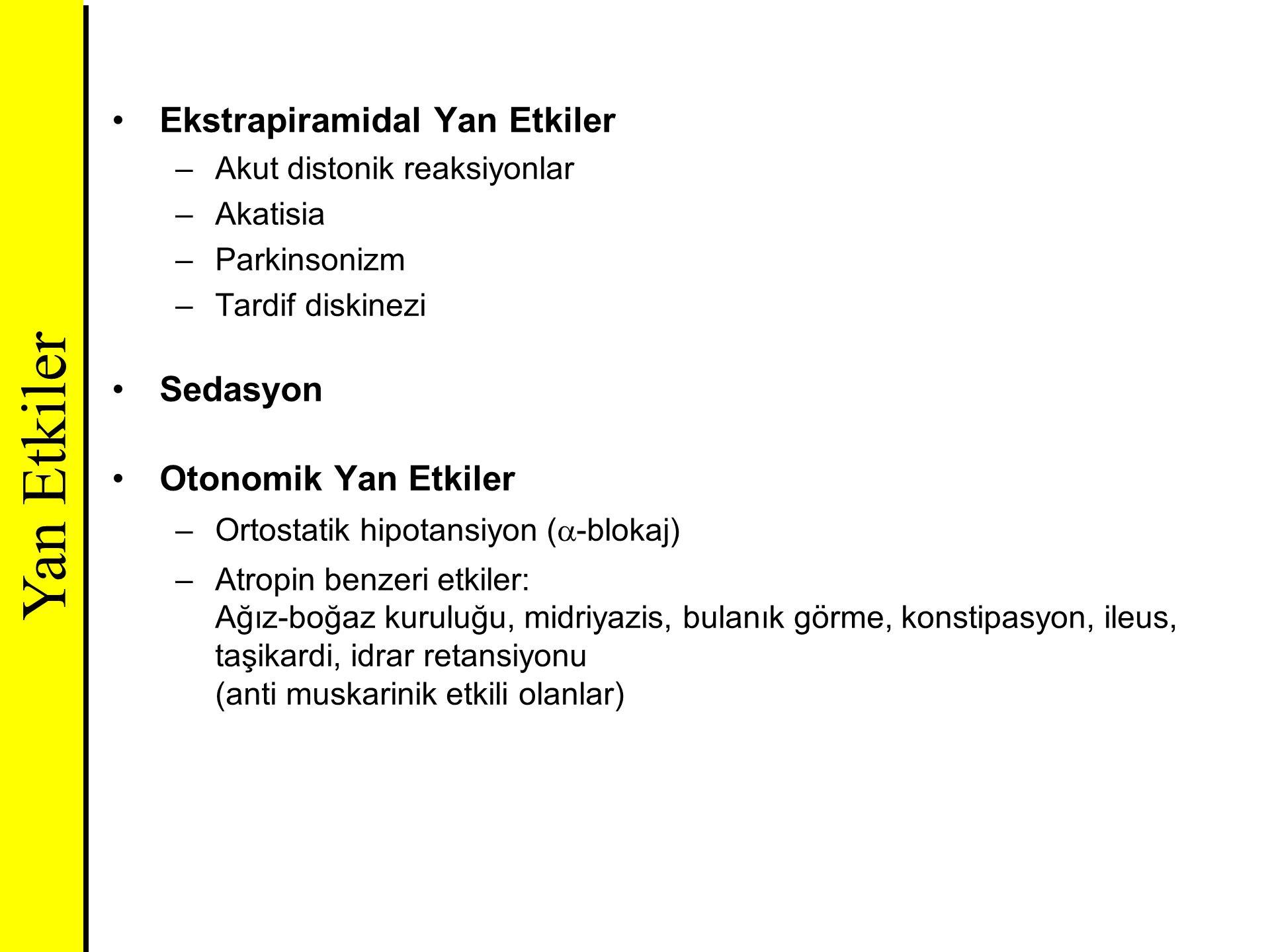 Ekstrapiramidal Yan Etkiler –Akut distonik reaksiyonlar –Akatisia –Parkinsonizm –Tardif diskinezi Sedasyon Otonomik Yan Etkiler –Ortostatik hipotansiy