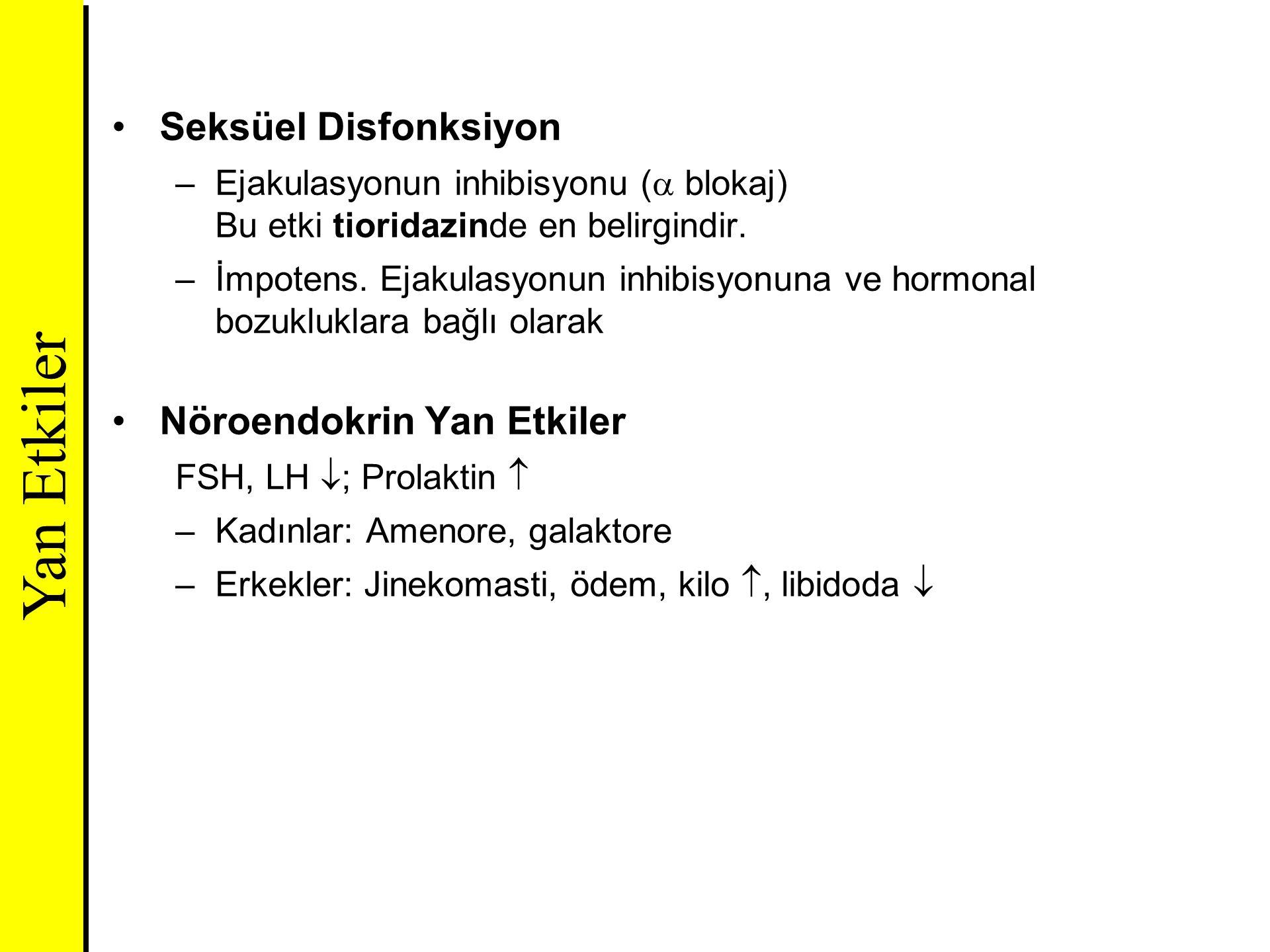 Seksüel Disfonksiyon –Ejakulasyonun inhibisyonu (  blokaj) Bu etki tioridazinde en belirgindir. –İmpotens. Ejakulasyonun inhibisyonuna ve hormonal bo