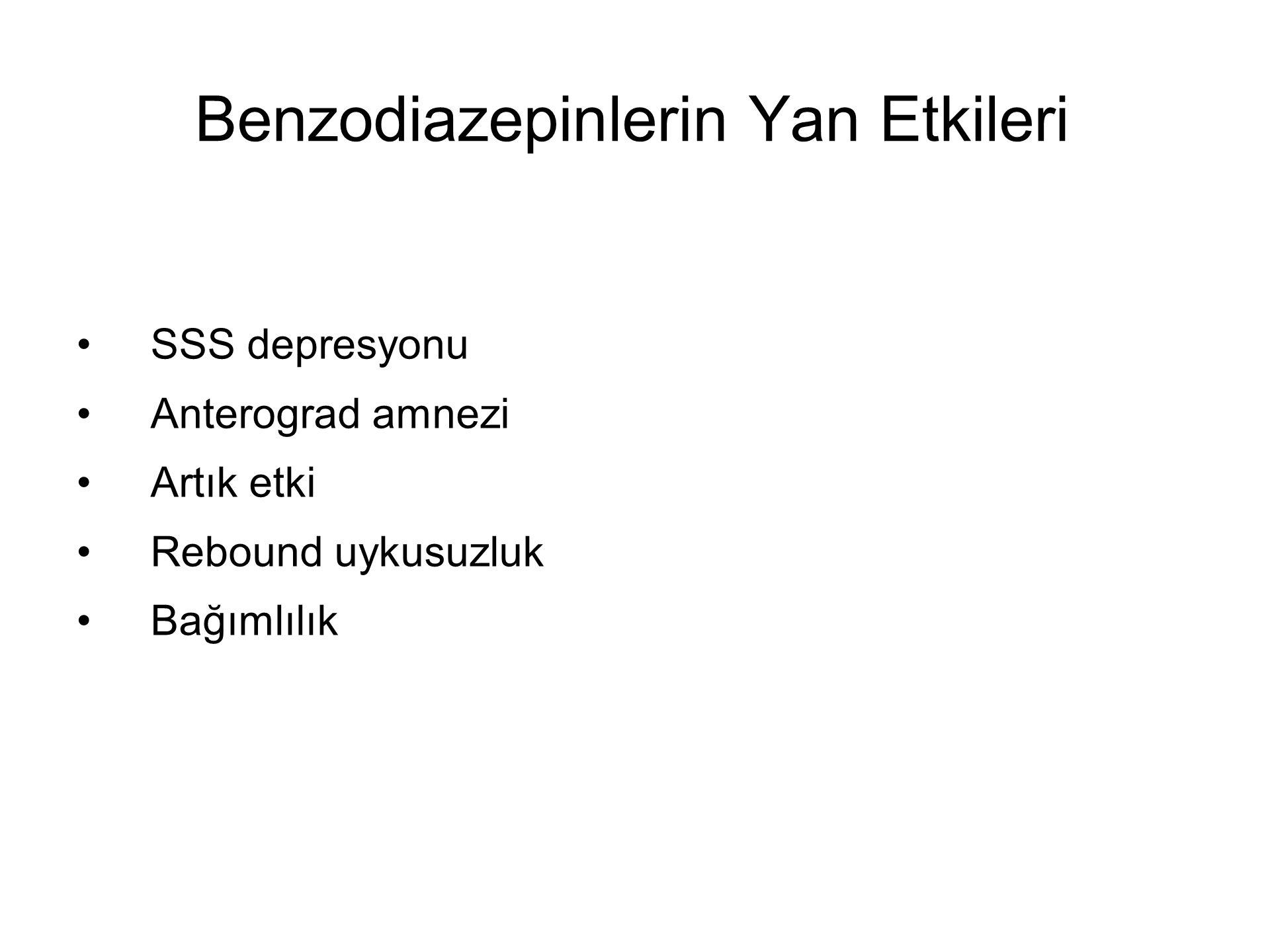 Benzodiazepinlerin Yan Etkileri SSS depresyonu Anterograd amnezi Artık etki Rebound uykusuzluk Bağımlılık