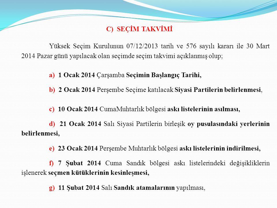 C) SEÇİM TAKVİMİ Yüksek Seçim Kurulunun 07/12/2013 tarih ve 576 sayılı kararı ile 30 Mart 2014 Pazar günü yapılacak olan seçimde seçim takvimi açıklanmış olup; a) 1 Ocak 2014 Çarşamba Seçimin Başlangıç Tarihi, b) 2 Ocak 2014 Perşembe Seçime katılacak Siyasi Partilerin belirlenmesi, c) 10 Ocak 2014 CumaMuhtarlık bölgesi askı listelerinin asılması, d) 21 Ocak 2014 Salı Siyasi Partilerin birleşik oy pusulasındaki yerlerinin belirlenmesi, e) 23 Ocak 2014 Perşembe Muhtarlık bölgesi askı listelerinin indirilmesi, f) 7 Şubat 2014 Cuma Sandık bölgesi askı listelerindeki değişikliklerin işlenerek seçmen kütüklerinin kesinleşmesi, g) 11 Şubat 2014 Salı Sandık atamalarının yapılması,