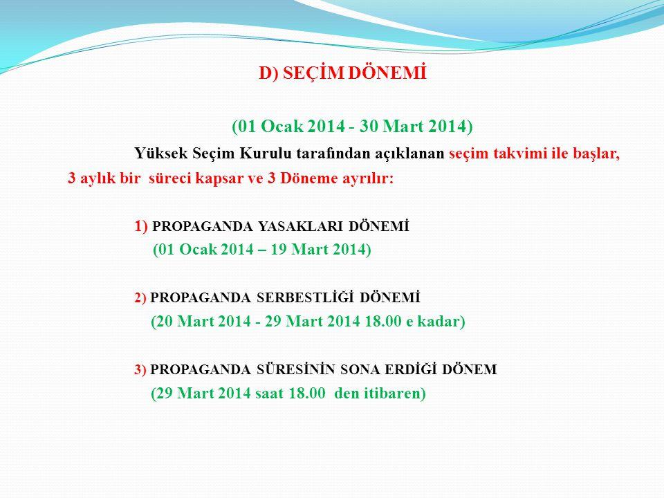 D) SEÇİM DÖNEMİ (01 Ocak 2014 - 30 Mart 2014) Yüksek Seçim Kurulu tarafından açıklanan seçim takvimi ile başlar, 3 aylık bir süreci kapsar ve 3 Döneme ayrılır: 1) PROPAGANDA YASAKLARI DÖNEMİ (01 Ocak 2014 – 19 Mart 2014) 2) PROPAGANDA SERBESTLİĞİ DÖNEMİ (20 Mart 2014 - 29 Mart 2014 18.00 e kadar) 3) PROPAGANDA SÜRESİNİN SONA ERDİĞİ DÖNEM (29 Mart 2014 saat 18.00 den itibaren)
