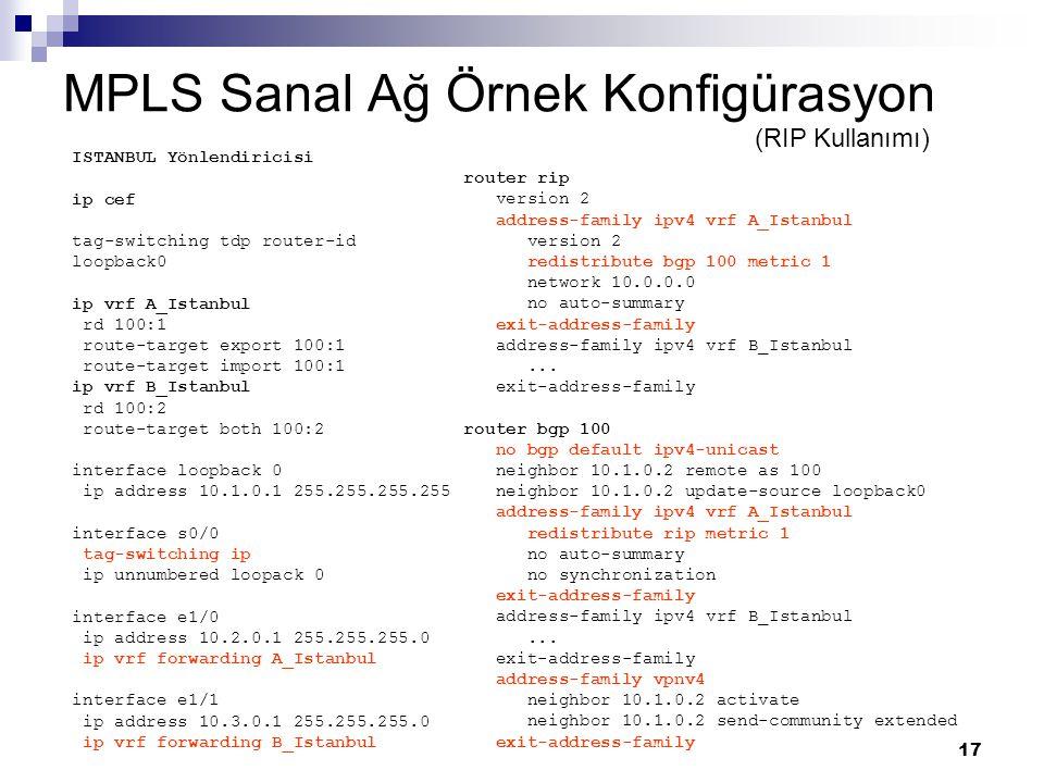 17 MPLS Sanal Ağ Örnek Konfigürasyon ISTANBUL Yönlendiricisi ip cef tag-switching tdp router-id loopback0 ip vrf A_Istanbul rd 100:1 route-target expo