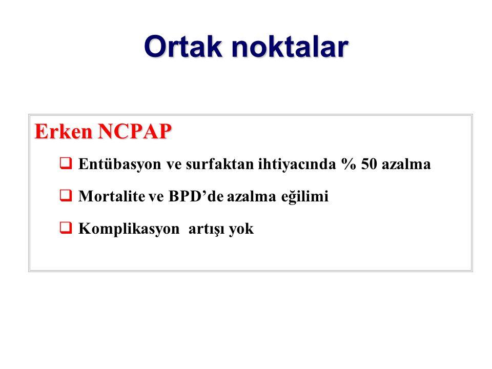 Ortak noktalar Erken NCPAP  Entübasyon ve surfaktan ihtiyacında % 50 azalma  Mortalite ve BPD'de azalma eğilimi  Komplikasyon artışı yok