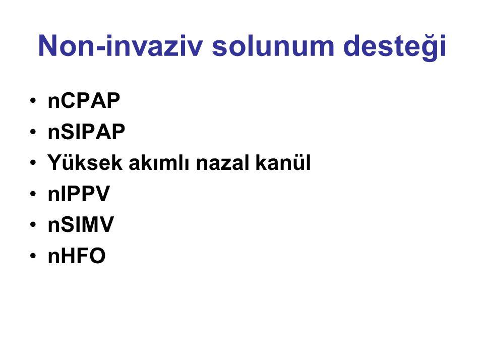Non-invaziv solunum desteği nCPAP nSIPAP Yüksek akımlı nazal kanül nIPPV nSIMV nHFO