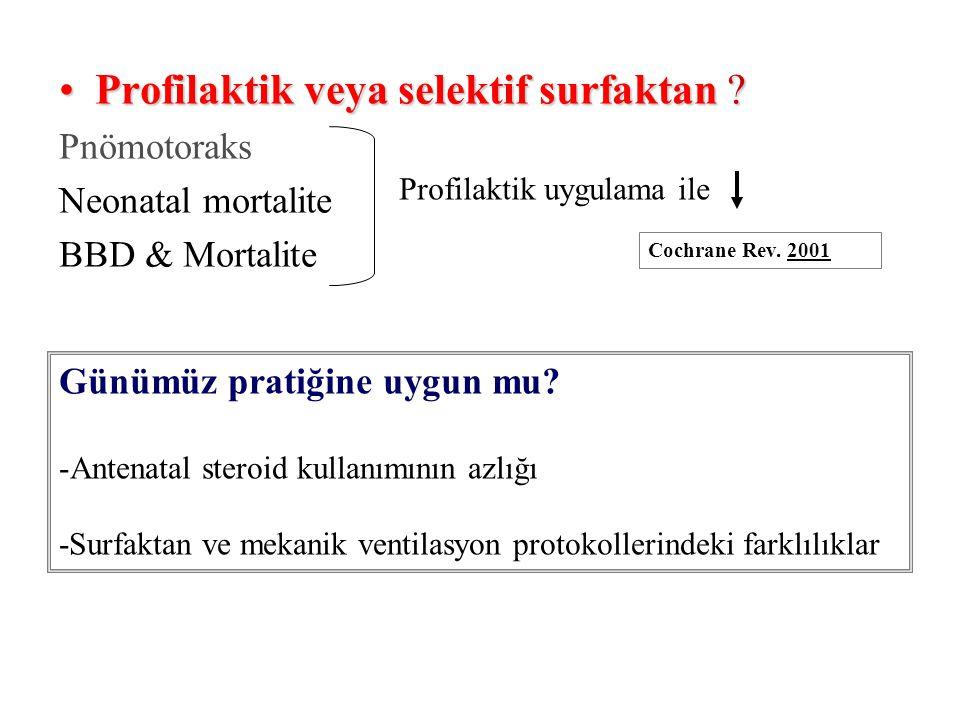 Profilaktik veya selektif surfaktan ?Profilaktik veya selektif surfaktan ? Pnömotoraks Neonatal mortalite BBD & Mortalite Profilaktik uygulama ile Coc