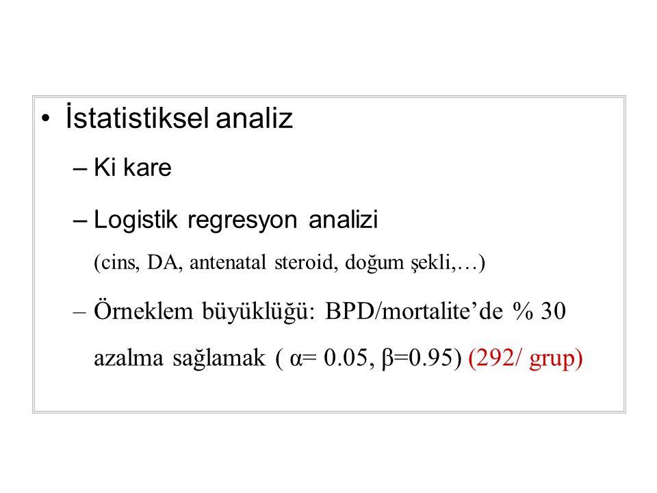 İstatistiksel analiz –Ki kare –Logistik regresyon analizi (cins, DA, antenatal steroid, doğum şekli,…) –Örneklem büyüklüğü: BPD/mortalite'de % 30 azalma sağlamak ( α= 0.05, β=0.95) (292/ grup)