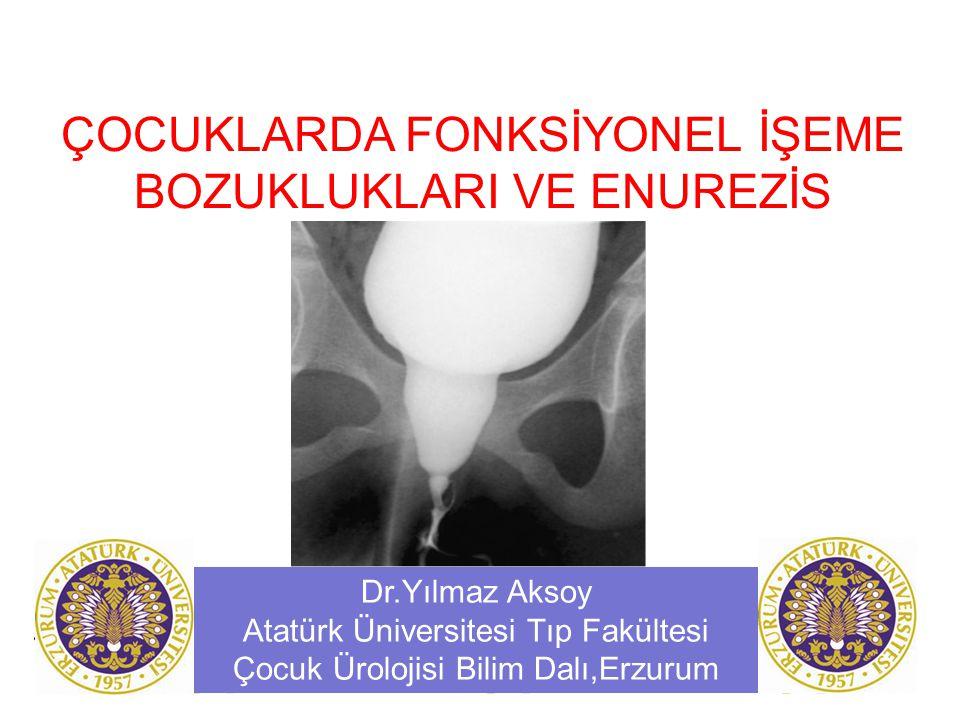 ÇOCUKLARDA FONKSİYONEL İŞEME BOZUKLUKLARI VE ENUREZİS Dr.Yılmaz Aksoy Atatürk Üniversitesi Tıp Fakültesi Çocuk Ürolojisi Bilim Dalı,Erzurum