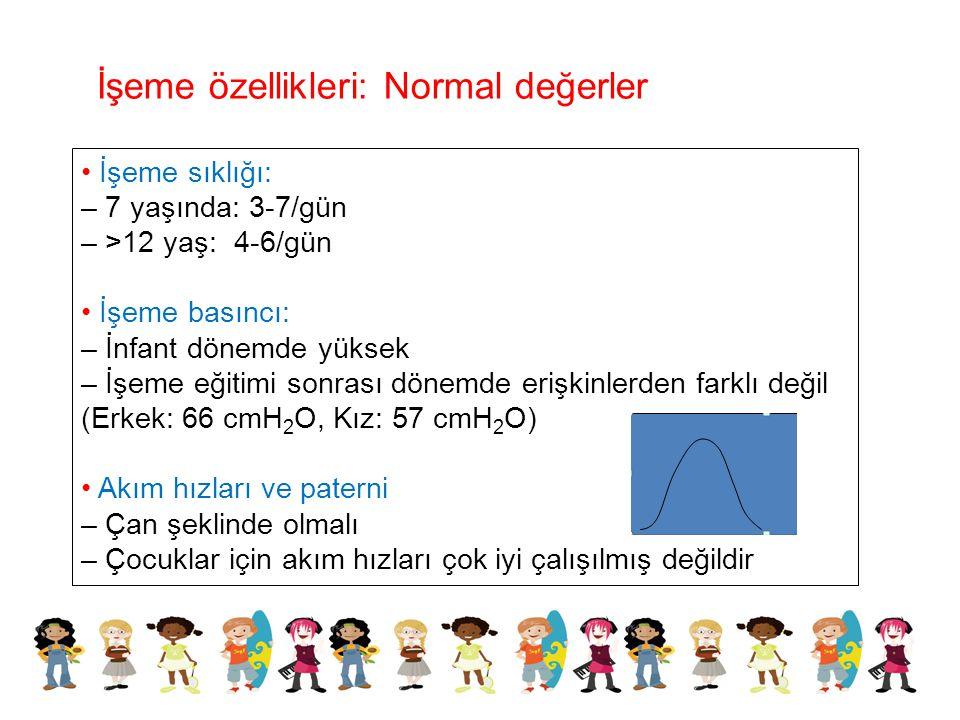 İşeme sıklığı: – 7 yaşında: 3-7/gün – >12 yaş: 4-6/gün İşeme basıncı: – İnfant dönemde yüksek – İşeme eğitimi sonrası dönemde erişkinlerden farklı değ