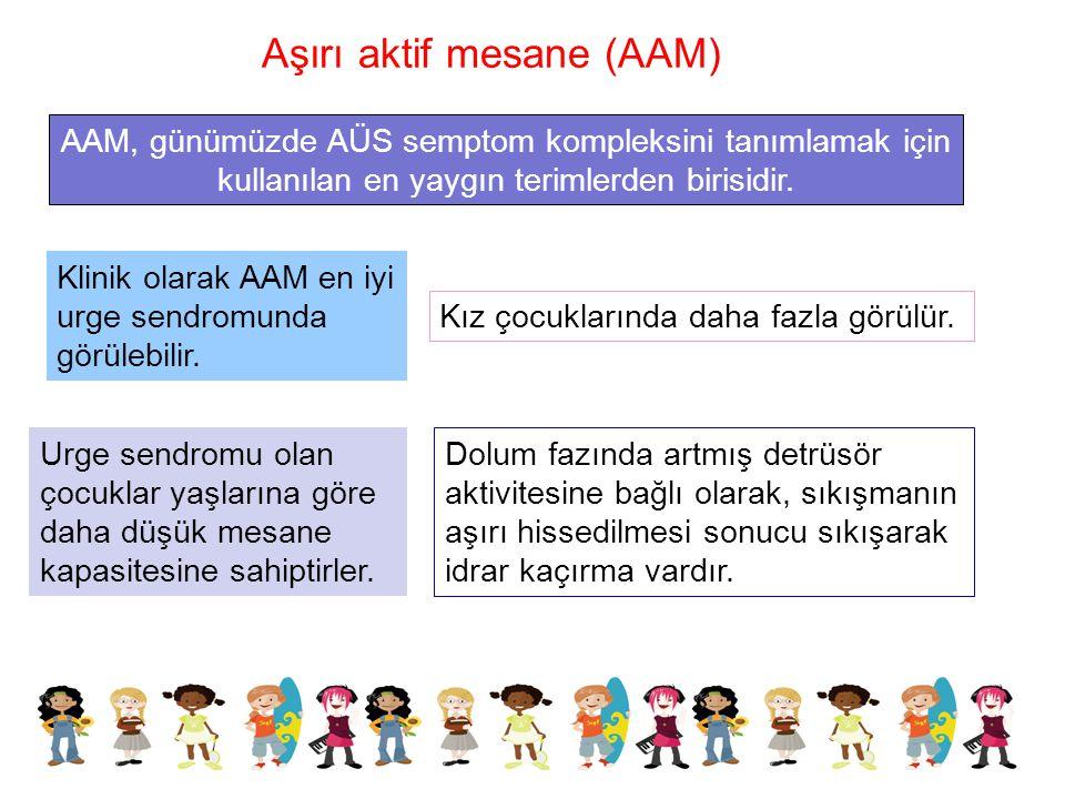 AAM, günümüzde AÜS semptom kompleksini tanımlamak için kullanılan en yaygın terimlerden birisidir. Klinik olarak AAM en iyi urge sendromunda görülebil