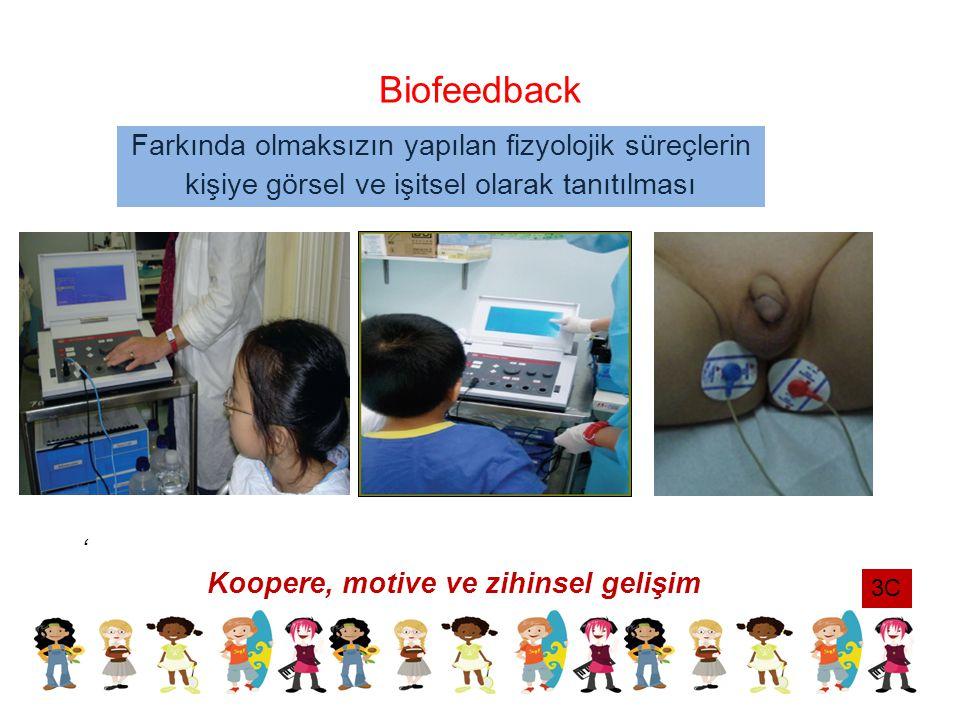 Biofeedback ' Koopere, motive ve zihinsel gelişim Farkında olmaksızın yapılan fizyolojik süreçlerin kişiye görsel ve işitsel olarak tanıtılması 3C