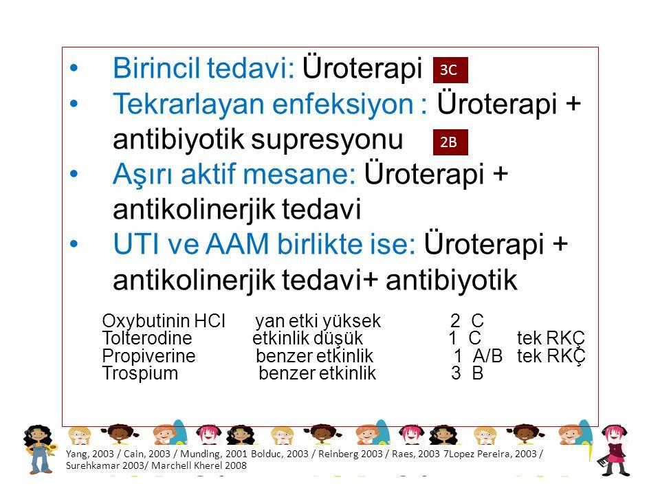 Birincil tedavi: Üroterapi Tekrarlayan enfeksiyon : Üroterapi + antibiyotik supresyonu Aşırı aktif mesane: Üroterapi + antikolinerjik tedavi UTI ve AA