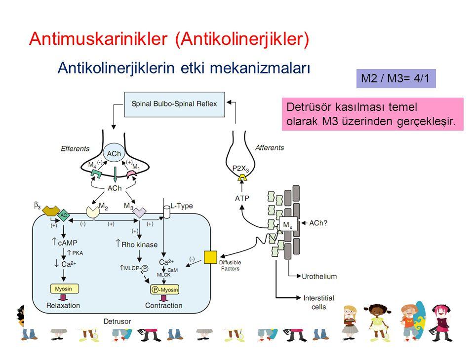 Antikolinerjiklerin etki mekanizmaları Antimuskarinikler (Antikolinerjikler) M2 / M3= 4/1 Detrüsör kasılması temel olarak M3 üzerinden gerçekleşir.