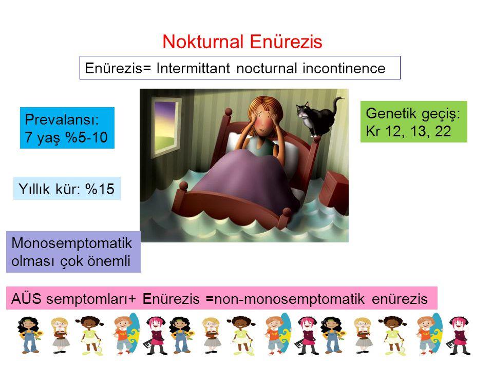 Nokturnal Enürezis Enürezis= Intermittant nocturnal incontinence Prevalansı: 7 yaş %5-10 Yıllık kür: %15 Monosemptomatik olması çok önemli AÜS semptom