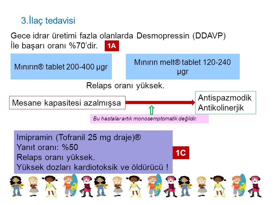 3.İlaç tedavisi Gece idrar üretimi fazla olanlarda Desmopressin (DDAVP) İle başarı oranı %70'dir. Mınırın® tablet 200-400 µgr Mınırın melt® tablet 120