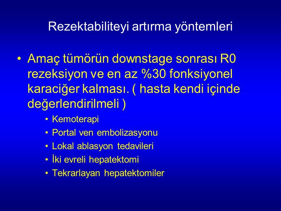 Rezektabiliteyi artırma yöntemleri Amaç tümörün downstage sonrası R0 rezeksiyon ve en az %30 fonksiyonel karaciğer kalması. ( hasta kendi içinde değer