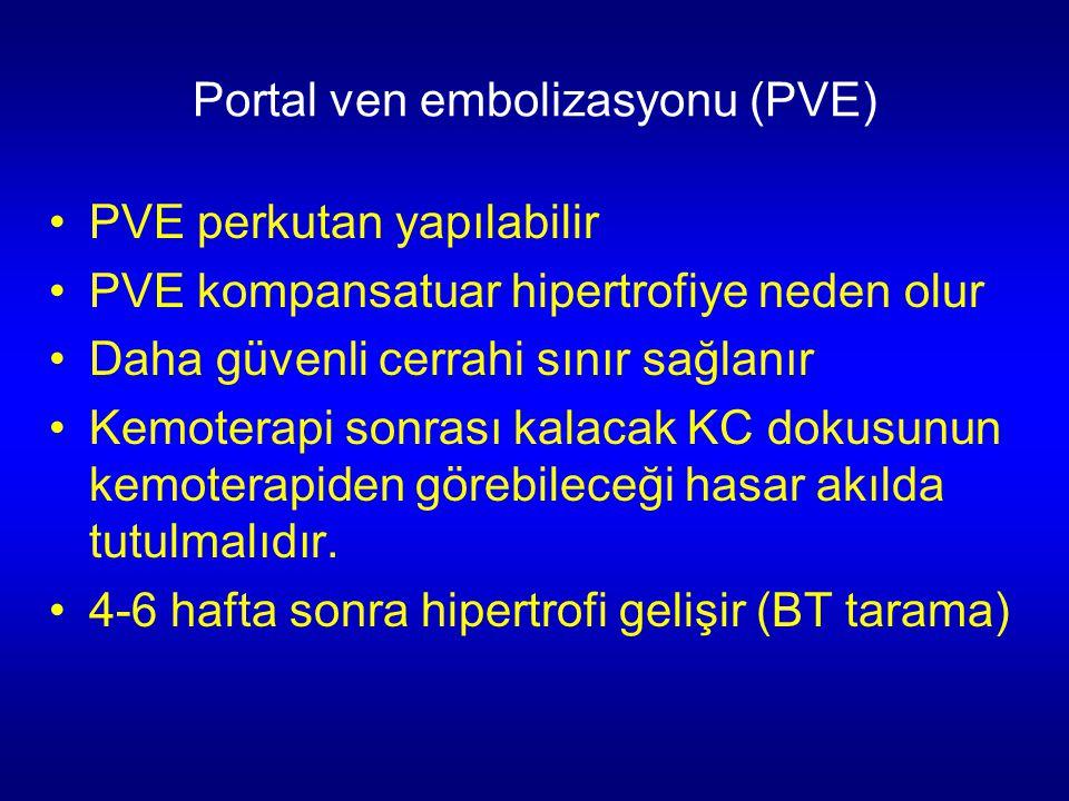 Portal ven embolizasyonu (PVE) PVE perkutan yapılabilir PVE kompansatuar hipertrofiye neden olur Daha güvenli cerrahi sınır sağlanır Kemoterapi sonras