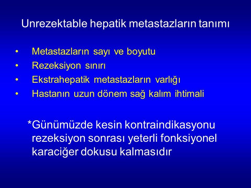 Unrezektable hepatik metastazların tanımı Metastazların sayı ve boyutu Rezeksiyon sınırı Ekstrahepatik metastazların varlığı Hastanın uzun dönem sağ k