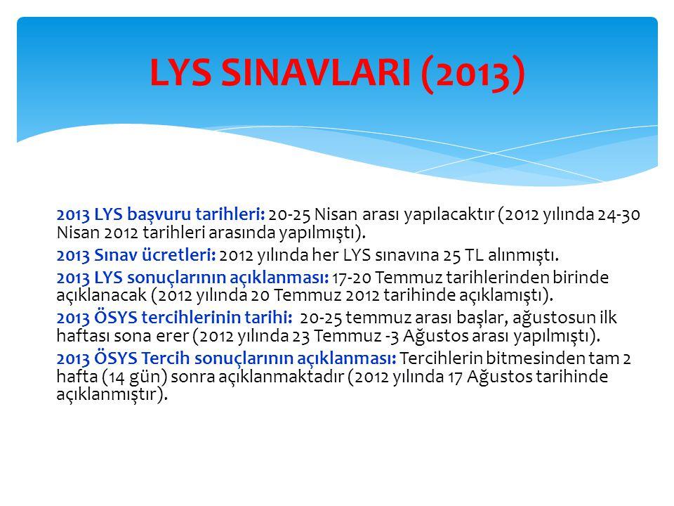 2013 LYS başvuru tarihleri: 20-25 Nisan arası yapılacaktır (2012 yılında 24-30 Nisan 2012 tarihleri arasında yapılmıştı). 2013 Sınav ücretleri: 2012 y