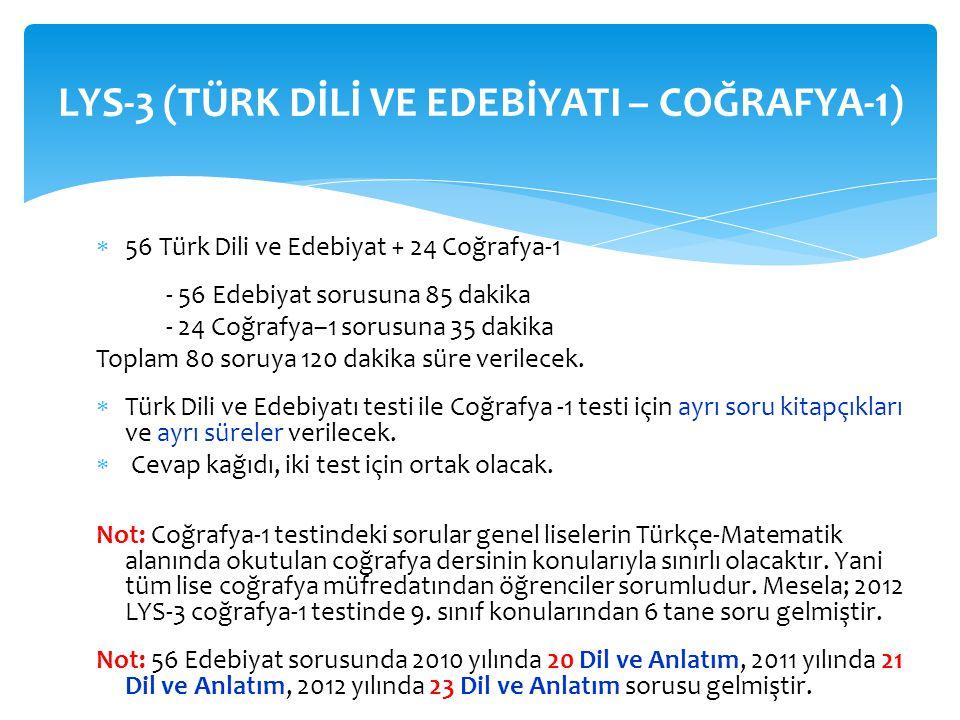  56 Türk Dili ve Edebiyat + 24 Coğrafya-1 - 56 Edebiyat sorusuna 85 dakika - 24 Coğrafya–1 sorusuna 35 dakika Toplam 80 soruya 120 dakika süre verile